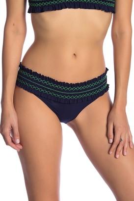 Tory Burch Costa Smocked Hipster Bikini Bottoms