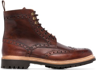 Grenson Fred hand-painted leather boots
