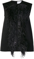 Gianluca Capannolo feathers applique top - women - Acrylic/Polyamide/Wool/Ostrich Feather - 44