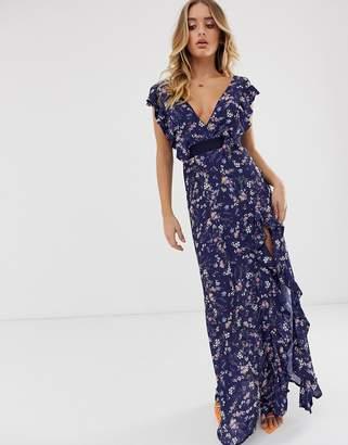 TFNC floral print v neck frill split maxi dress-Multi
