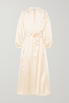Le Kasha Quetta Belted Silk-satin Maxi Dress - Cream