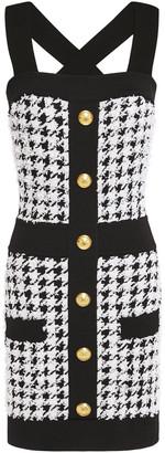 Balmain Button-embellished Houndstooth Boucle-tweed Mini Dress