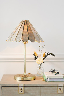 Anthropologie Daisy Capiz Table Lamp By in Grey Size ALL