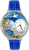 Whimsical Watches Personalized Footprints Womens Silver-Tone Bezel Blue Leather Strap Watch