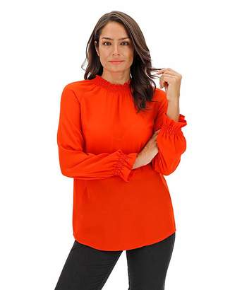 Jd Williams Red Shirred Neck and Cuff Blouse