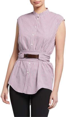 Brunello Cucinelli Cap-Sleeve Button-Down Striped Cotton Poplin Blouse with Wrap Belt