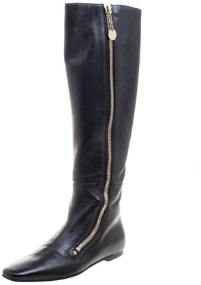 Gucci Black Leather Zip Up Knee Length Boots Size 40