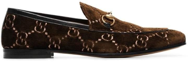 Gucci brown GG jordan velvet loafers
