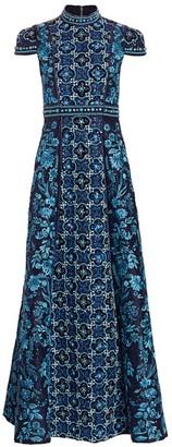 Alice + Olivia Nidia Embellished Mockneck Gown