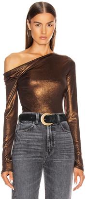 Alix Nyc ALIX NYC Willett Metallic Bodysuit in Bronze | FWRD