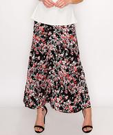 Lbisse Women's Maxi Skirts Black - Black & Red Floral Maxi Skirt - Women & Plus