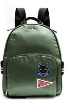 Miu Miu Badge-appliqué satin backpack