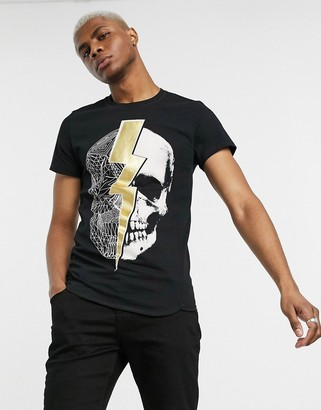 Religion stretch muscle fit t-shirt with skull graphic in black