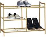 relaxdays shoe rack sandra with 3 shoe storageboot shelf and handles