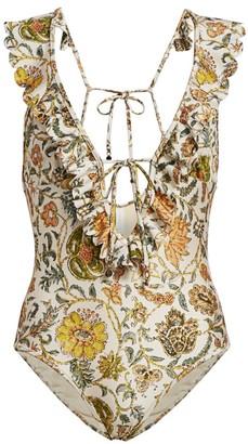 Zimmermann Edie Ruffle Floral One-Piece Swimsuit
