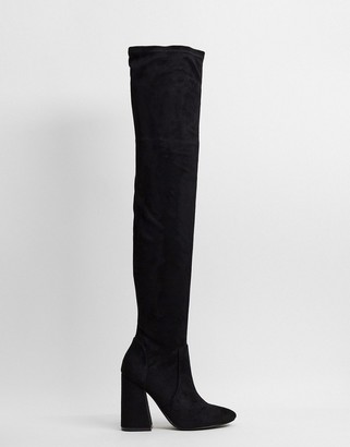 ASOS DESIGN Keeper heeled thigh high boots in black