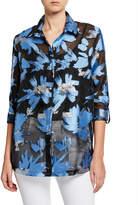 Berek Plus Size Foilicious Floral Metallic Button-Down Long-Sleeve Easy Shirt