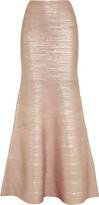 Herve Leger Fluted metallic bandage maxi skirt