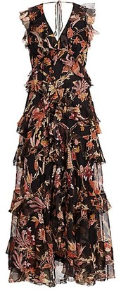 Zimmermann Wavelength Frilled Floral Silk Maxi Dress