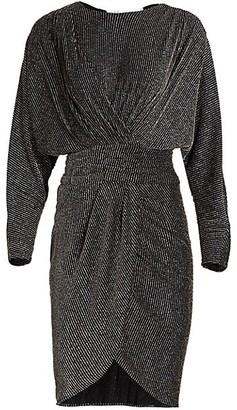 IRO Magnes Draped Metallic Stripe Sheath Dress