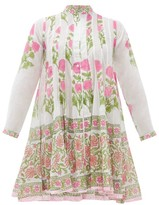 Juliet Dunn Panelled Floral-print Cotton Cover-up - Womens - Pink White