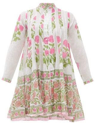 Juliet Dunn Panelled Floral-print Cotton Cover Up - Womens - Pink White