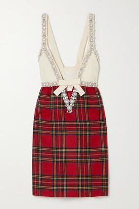 Miu Miu Embellished Wool And Silk-blend And Checked Wool Mini Dress - Red