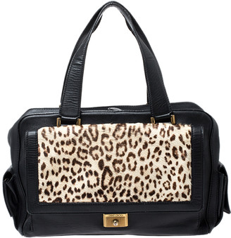 Jimmy Choo Black/Beige Leopard Print Calfhair and Leather Catherine Satchel