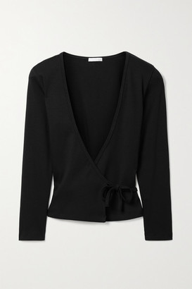 Skin Isabel Ribbed Stretch-pima Cotton Jersey Wrap Top - Black