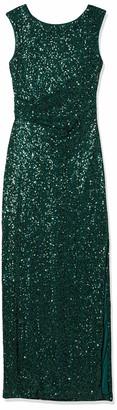 Jessica Howard JessicaHoward Women's Extended Shoulder Empire Waist Drape Back Sequin Gown