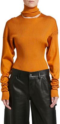 Bottega Veneta Ribbed-Silk Sweater with Fold-Down Collar