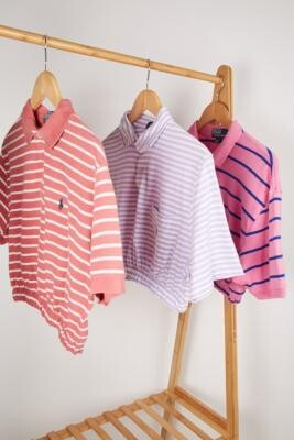 Urban Renewal Vintage Remade From Vintage Pink Stripe Branded Bubble Polo Shirt - Pink M/L at Urban Outfitters