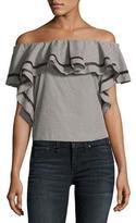 Rachel Zoe Molly Off-The-Shoulder Striped Ruffle Top, Black/White