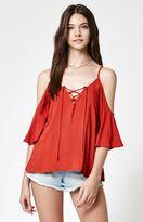 La Hearts Lace-Up Short Sleeve Cold Shoulder Top