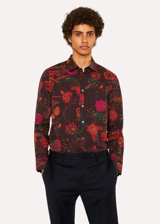 Paul Smith Men's Slim-Fit Burgundy 'Fantasy Floral' Print Shirt