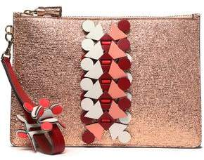 Anya Hindmarch Appliquéd Cracked-Leather Clutch