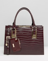 Dune Structured Tote Bag With Metal Bar Detail