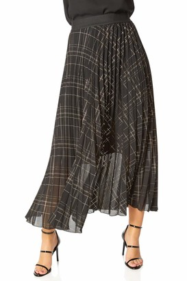 Roman Originals Women Metallic Check Print Pleated Maxi Skirt - Ladies Autumn Winter Smart Casual Day to Night Party Special Occasion Midi Length Long Floaty Chiffon Skirts - Black - Size 18