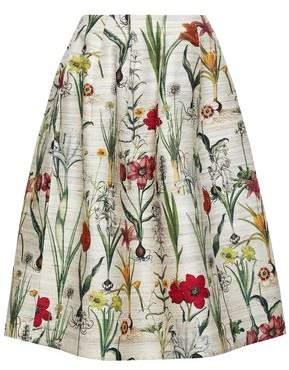 Oscar de la Renta Printed Silk-blend Midi Skirt