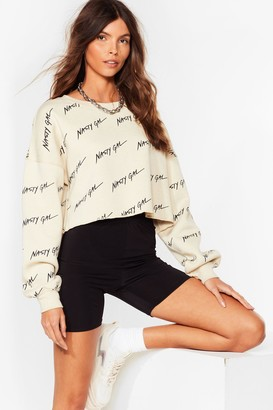 Nasty Gal Womens Nothing But a Cropped Sweatshirt - Beige - S