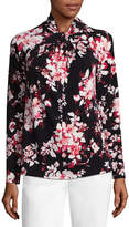 Liz Claiborne Long Sleeve Twist Neck Floral Blouse- Talls