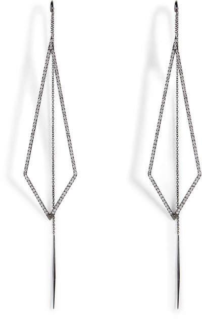 Diane Kordas 18K Black Gold Triangular Drop Earrings