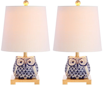 "Jonathan Y Designs Justina 16"" Ceramic Mini Table Lamp, Blue and White, Set of 2"