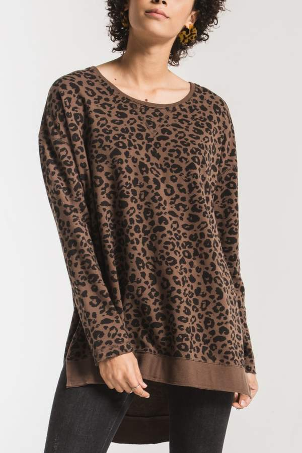 Z Supply Leopard Weekender Pullover