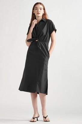 Thakoon Poplin Tie Front Maxi Dress Black