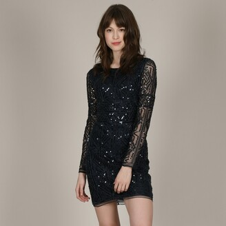 Molly Bracken Sequined Short Shift Dress with Long Sleeves