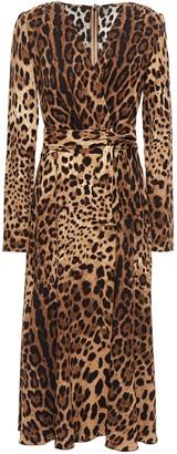Dolce & Gabbana Wrap-effect Leopard-print Crepe Midi Dress