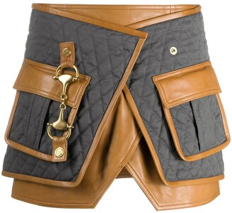 Balmain Quilted Buckled Wrap Mini Skirt