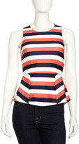 Striped Sleeveless Peplum Blouse, Lime/Coral/Ivory