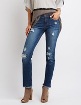 Charlotte Russe Sneak Peek Frayed Hem Destroyed Boyfriend Jeans